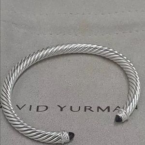 🌼DAVID YURMAN Silver Black Onyx 5mmCable Bracelet